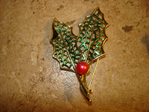 Vintage metal Christmas brooch pin tree branch and pearl