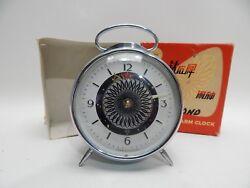 Vtg Alarm Clock Metal Diamond Animated Blue Art Deco Retro Optical Sunflower