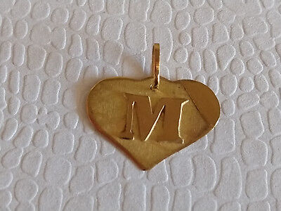 18 K Yellow Gold Heart Pendant with Letter