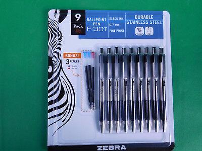 9 Zebra F-301 Pen Black Ink Fine 0.7mm Stainless Steel W Bonus Red Blue Refills