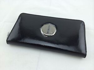 *Free&express Post* BNWT MIMCO TRAVEL WALLET BLACK Patent Leather Gunmetal Badge