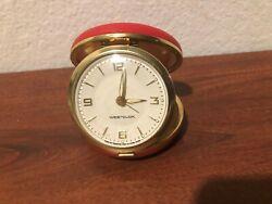 Vintage Westclox Travel Red Case Round Wind Up Alarm Clock Works