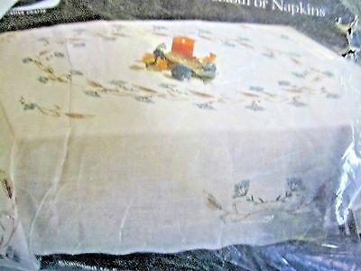 "Vintage NEW Lee Wards HARVEST PATTERN 70"" X 106"" Embroidery Tablecloth Kit"