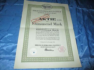 histor. AKTIE , Bibliographisches Institut AG LEIPZIG  1921 // 1000 Mark ,# 5663