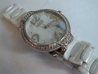 BURGI women's watch, white ceramic,BUR071WT,rhinestones,great cnd,works,