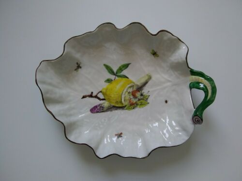 Antique English Bone China Leaf Dish Chelsea Bugs Lemon