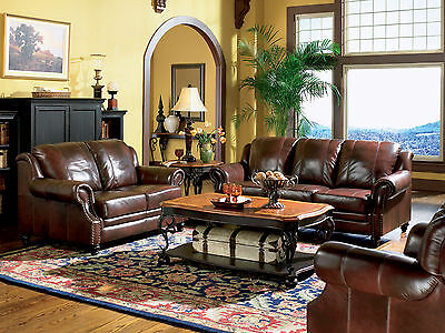 NEW MAJESTIC Traditional Living Room Furniture Brown Real Leather Sofa Couch Set