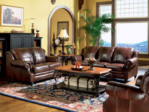 Traditional Living Room Couch Set Furniture New Brown Leather Sofa Loveseat Ig78