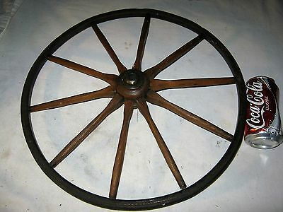 ANTIQUE COUNTRY PRIMITIVE USA CARRIAGE BUGGY WOOD WHEEL GARDEN ART w/ HARDWARE