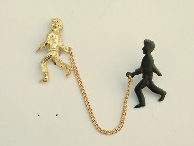 Clever Costumes For Men (Vintage amusing man and shadow brooch chatelaine pins chain clever figural)