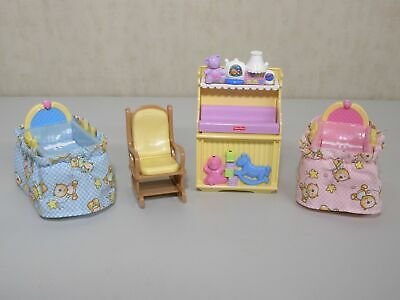 L3183 Loving Family Twins Nursery Sounds Doll House Furniture Lot Fisher Price