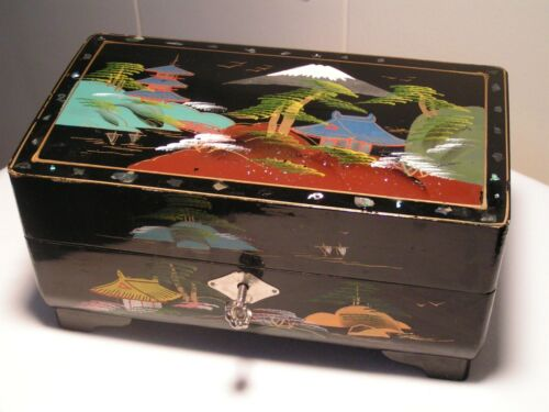 Vintage Black Lacquer Painted & Musical Jewelry Box with key Japan