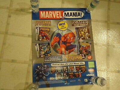 Marvel Mania Spider Man X Men Gba Playstation 1 N64 Dreamcast Store Promo Poster