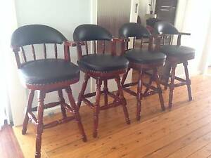 4 x Luxury Timber Bar Stools- Leather padded, 360 deg swivel. Oak Flats Shellharbour Area Preview