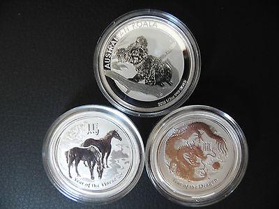 Je 1x Lunar  Pferd II- 2014+ 1x Drache 2012+1x Koala 2015-Silber Neu-1A Zustand gebraucht kaufen  Dürrhennersdorf
