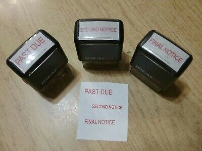 Self Inking Stamper (Set Of 3 Ideal 50 Self Inking Stampers Past-due Second Notice Final)