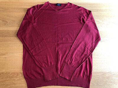 Mens John Smedley 100% Sea Island Cotton Long Sleeve Red V-Neck Jumper Size XL