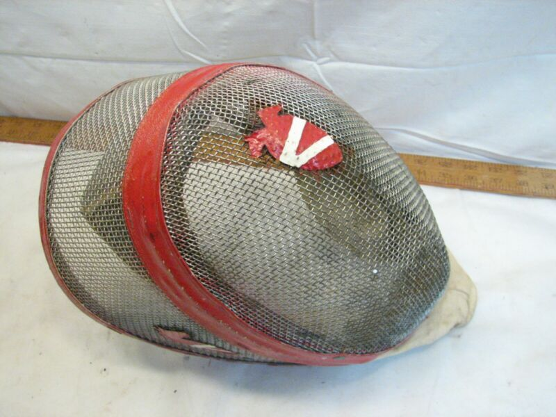 Antique Castello Fencing Mesh Mask Helmet Full Face Neck Guard