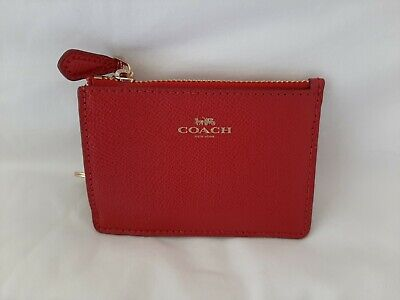 Coach Red Mini ID Card Case Coin Wallet F12186 No. G1878 Free Shipping