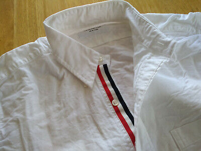 NWOT Thom Browne White Oxford Cloth Button Down Collar TB3 Grosgrain MSRP $425