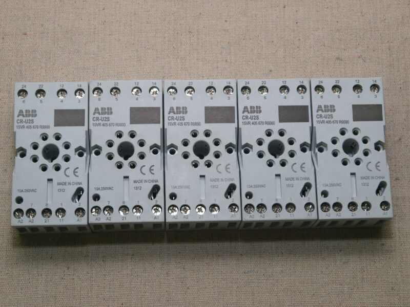 ABB CR-U2S Socket for Universal Relays 10A 250VAC ID#1SVR405670R0000 – lot of 5