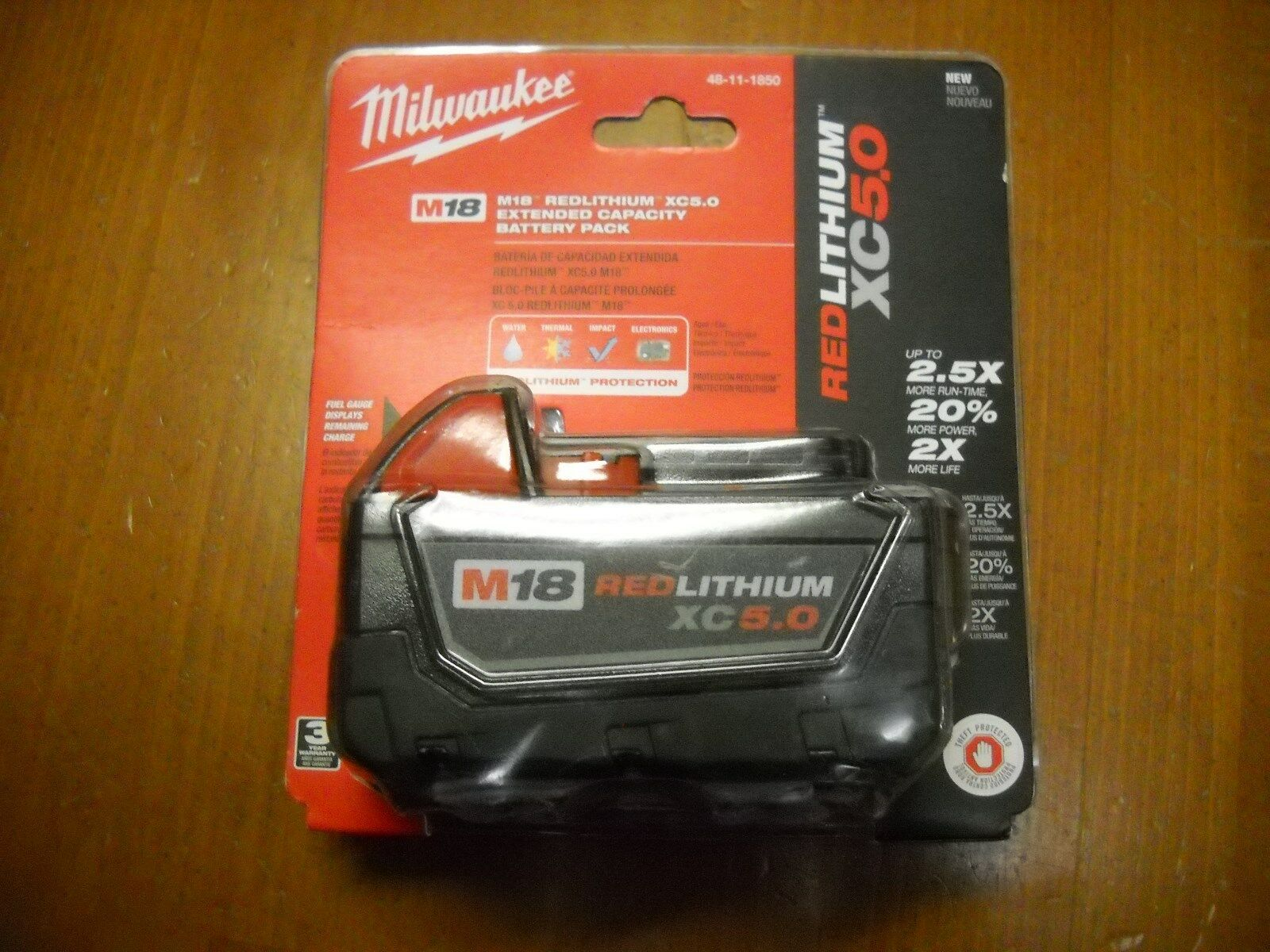 Milwaukee 48-11-1850 18V 5.0 AH Battery M18 18 Volt XC 5.0 Red Lithium NEW I 1