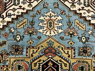 8x10 BLUE HANDMADE WOOL RUG HAND KNOTTED NEW HERIZ geometric carpet peshawar