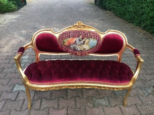 French Gobelin Louis XVI Style Sofa With Burgundy Velvet .