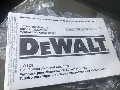 Dewalt 12 Stud Joist Drill Model Dw124 Owners Manual Only