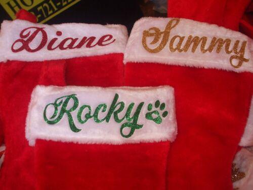 Monogrammed/Personalized Christmas Stocking Custom Heat Transfer Glitter Name