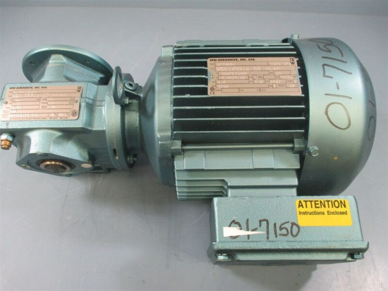 Sew-Eurodrive 1.5HP Electric Motor DFT90S4 + Gear Reducer SAF37DT90S4 - New