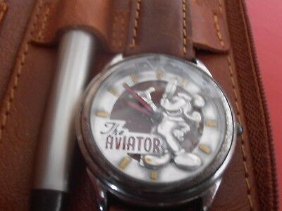 "Fossil Men's Mickey Mouse ""The Aviator"" Ltd.Edition Quartz Watch & Pen Set"