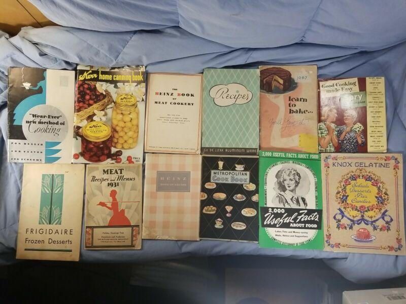 Lot 11 Vintage Cookbooks Recipes 1930s-1940s Hines Kerr Fridgidaire Knox