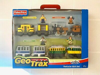 GeoTrax Push Train Christmas Holiday Gift Set TROLLEY METRO STEAM 4 FIGURES NIB