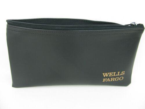 Wells Fargo Bank Money Deposit Bag Zippered Faux Black Leather New