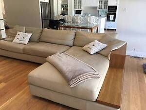 "King Jasper ""A"" Grade Leather Light Beige Lounge Suite Pymble Ku-ring-gai Area Preview"