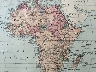 Africa Original Antique Encyclopaedia Britannica Map Vintage Old Map