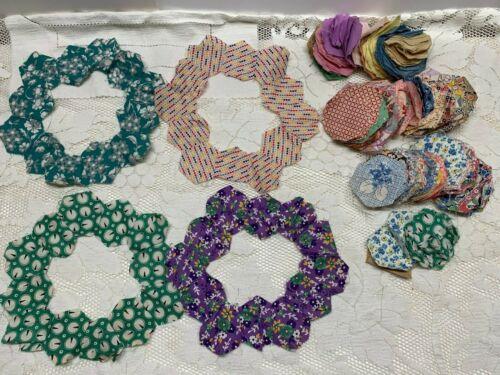 Vintage Hexagon Feedsack Fabrics Grandmas Flower Garden Quilt Block Pieces 300+