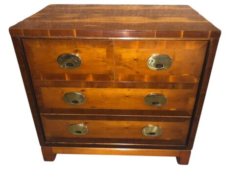 Vintage Hickory Three Drawer Campaign Style Bachelors Chest