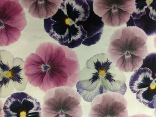 MULTI COLOR PANSIES ON WHITE *SPRING FLOWERS* Fabric Scrap Q