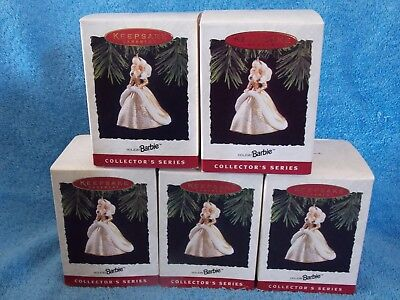 Lot Of 5 New 1994 Holiday  Barbie Doll Ornaments