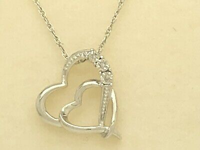 """Kay Jewelers Sterling Silver Diamond Accent Double Heart Necklace 18"""""""
