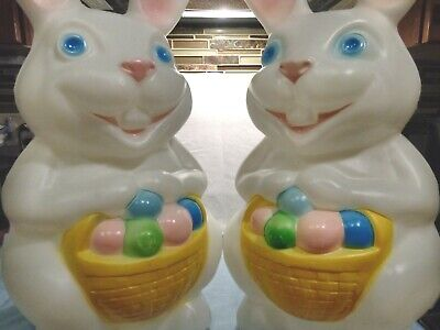 """PAIR OF 22"""" EMPIRE LIGHTED EASTER BUNNY RABBIT BLOW MOLDS, W/BASKET OF EGGS"""