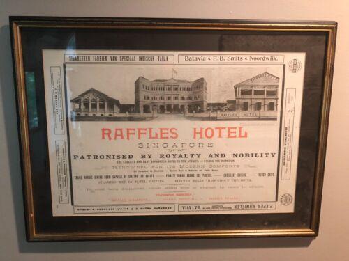Raffles Hotel Singapore Framed Advertisement Vintage 1920