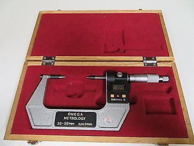 Omega Metrology 33-58mm.001mm Digital Point Micrometer In Case - Fs26