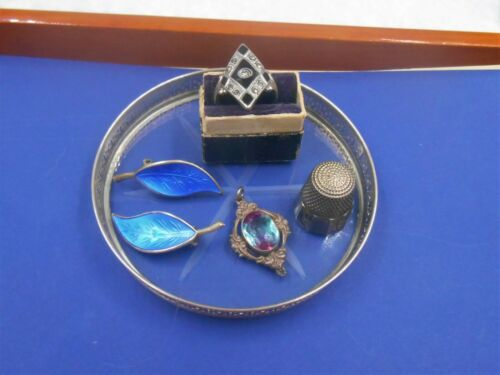 SMALL LOT SILVER ESTATE JEWELRY DECO RING PENDANT ENAMEL EARRINGS OLD THIMBLE
