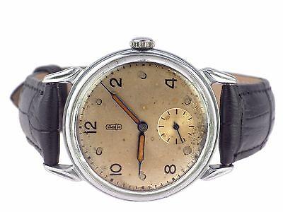 Glashütte Urofa Kal 61/613 mechanische Handaufzug Herren Armbanduhr 35mm um 1950