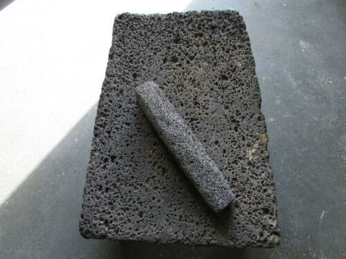Antique Metate #45-Grinder-Rustic-Complete-Old Mexican--Primitive-13x18x7.5