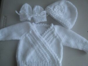 White, New Born size; Hand Knitted Baby Complete Cardigan, Mitts  & Hat set