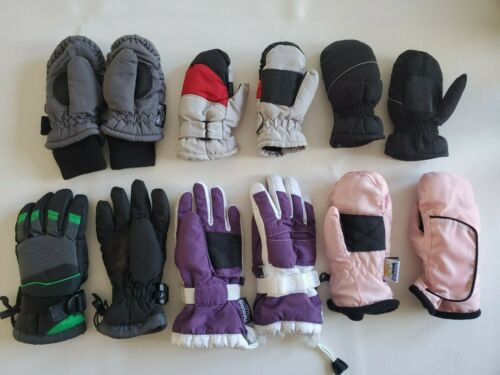 Lot 6 Toddler Kids Insulated Snow Ski Mittens Gloves Thinsulate Size 18 mos -6yr